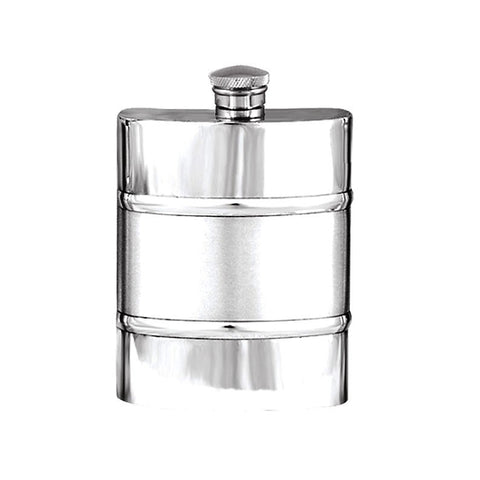 Elegant Plain with Satin Band 6oz Pewter Hip Flask  Made in England  !!SALE 25% OFF!! - Oakedge Knives