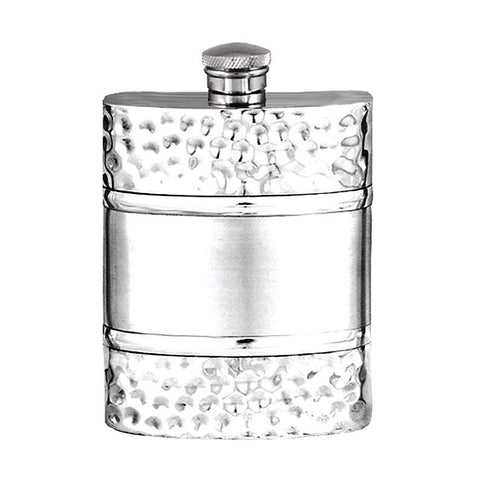 Elegant Plain with Satin Band and Hammered Effect Pannels 6oz Pewter Hip Flask  Made in England  !!SALE 25% OFF!! - Oakedge Knives
