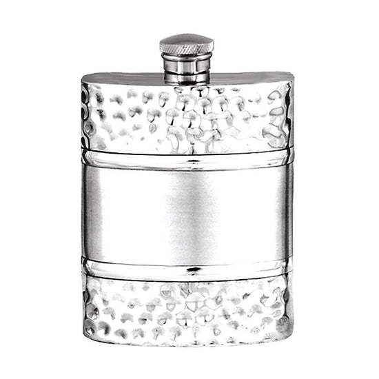 Elegant Plain with Satin Band and Hammered Effect Pannels 6oz Pewter Hip Flask  Made in England  !!SALE 50% OFF!! - Oakedge Knives