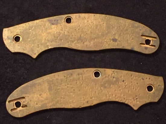 SALE OFFER Custom Solid Brass Scales Spyderco UKPK 3 Pin Patina - Oakedge Knives