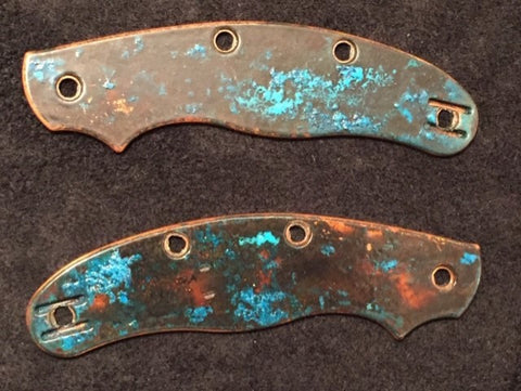SALE OFFER Custom Solid Copper Scales Spyderco UKPK 4 Pin with Patina 1 - Oakedge Knives
