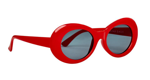 HOT RED GLOSS 90'S OVAL SUNGLASSES