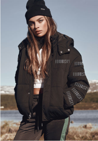 AFTER DARK: BLACK PUFFER JACKET WITH REFLECTIVE DETAIL & DETACHABLE HOOD