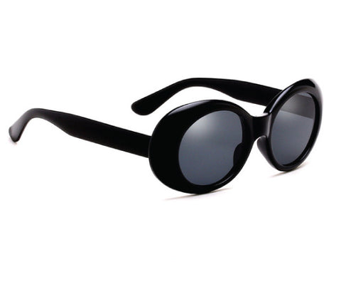 BLACK GLOSS 90'S OVAL SUNGLASSES