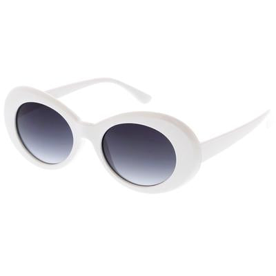 WHITE GLOSS 90'S OVAL SUNGLASSES
