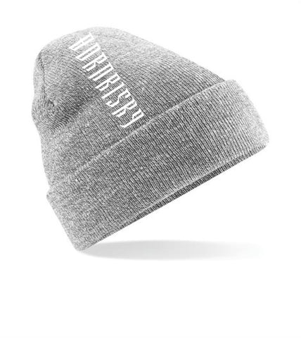 VERTIGO: DUSKY GREY EMBROIDERED BEANIE HAT