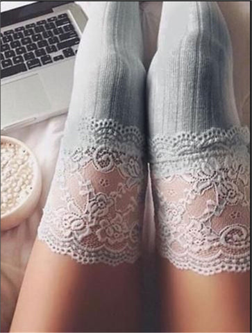 GREY LUXURY KNEE HIGH SOCKS WITH LACE TRIM
