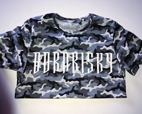 BORN RISKY: GREY CAMO CROP TOP
