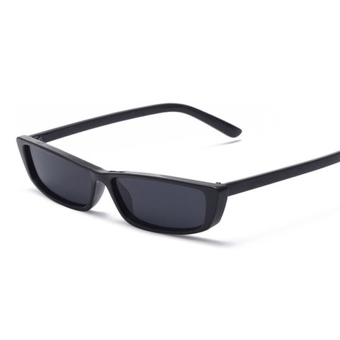BLACK GLOSS 90'S SMALL RECTANGLE SUNGLASSES