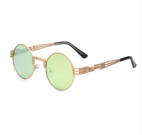 Retro Lime Mirrored Steampunk Sunglasses w/ Gold Frame