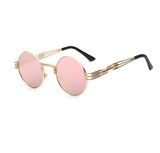 Retro Pink Mirrored Steampunk Sunglasses w/ Gold Frame