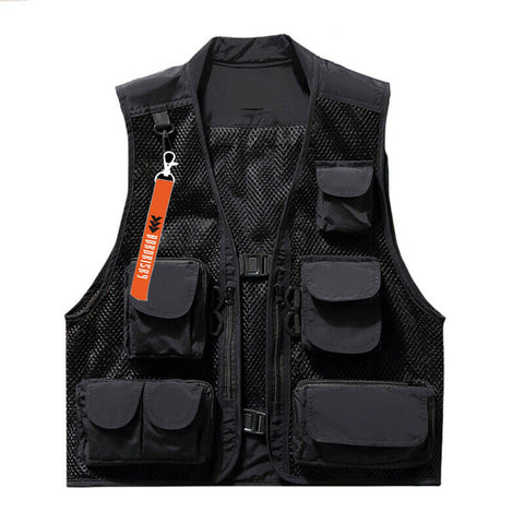 STEALTH: BLACK VEST FEAT. ORANGE LANYARD