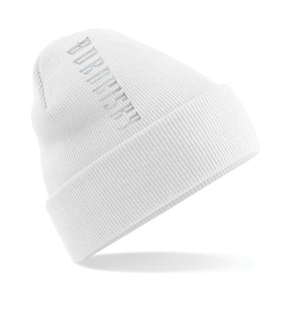 VERTIGO: FRESH WHITE EMBROIDERED BEANIE HAT