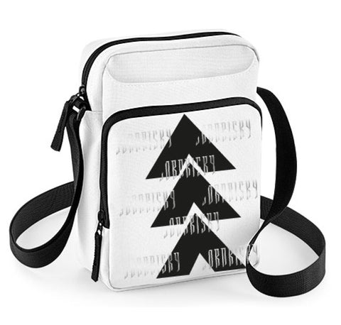 AFTER DARK: WHITE CROSSBODY BAG WITH REFLECTIVE PRINT