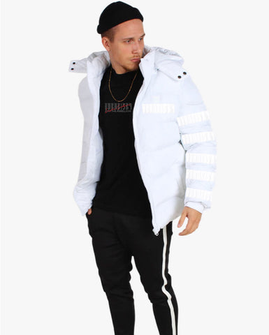 AFTER DARK: WHITE PUFFA JACKET WITH REFLECTIVE DETAIL & DETACHABLE HOOD
