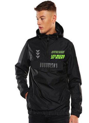 AFTER DARK: BLACK OVERHEAD WINDBREAKER WITH REFLECTIVE DETAIL