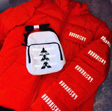 AFTER DARK: ORANGE PUFFA JACKET WITH REFLECTIVE DETAIL & DETACHABLE HOOD