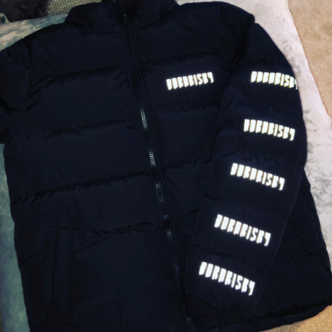 AFTER DARK: BLACK PUFFA JACKET WITH REFLECTIVE DETAIL & DETACHABLE HOOD