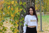 BADASS BITCHES INC: CROPPED WHITE EMBROIDERED SWEATSHIRT