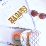 BADASS BITCHES INC: WHITE EMBROIDERED SWEATSHIRT