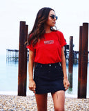EMBROIDERED INSPIRE T-SHIRT: CHERRY RED