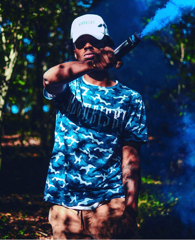 BORN RISKY: BLUE CAMO T-SHIRT