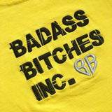 BADASS BITCHES: LEMON YELLOW EMBROIDERED T-SHIRT