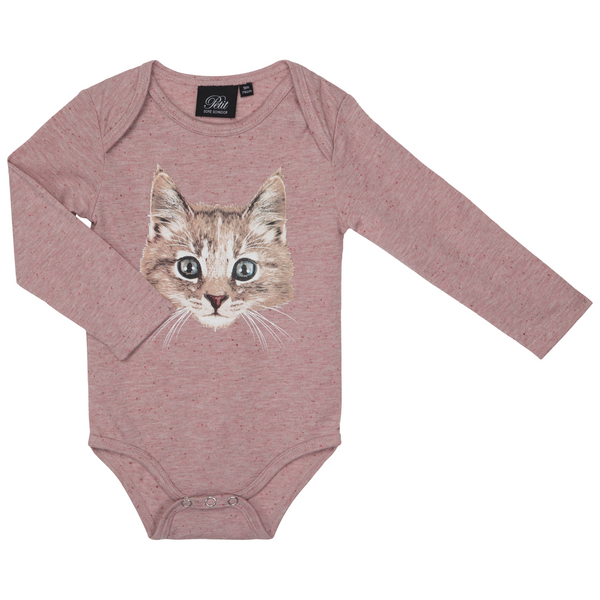 Dusty Rose Body mit Katzen-Print