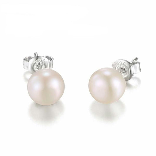 925 Sterling Silver with White Pearl Stud Earrings