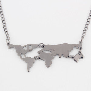 Gold Plated World Map Pendant Necklace For Women - RogueDeals.com