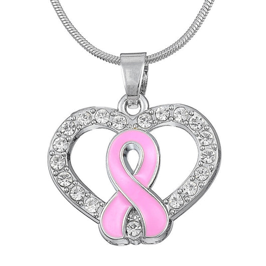 Pink Ribbon Pendant Breast Cancer Awareness Necklace