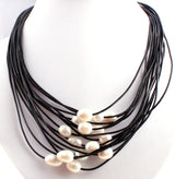 Natural Oval Pearl Pendant 15 Row Leather Rope Chain Fashion Necklace - RogueDeals.com