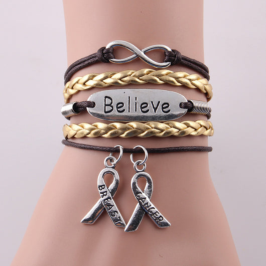 Faith, Hope, Believe - Breast Cancer Leather Bracelet
