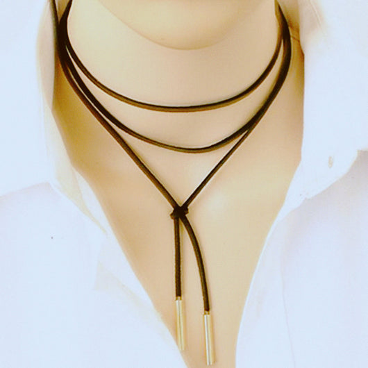 Elegant Long Black Leather Rope Gold Tube False Choker Bijoux Necklace 150cm for Women