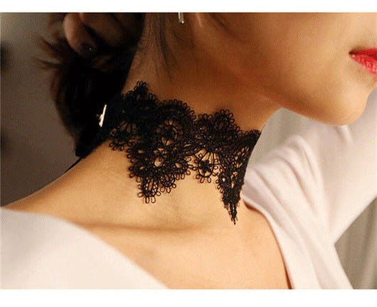 Black Lace BOHO Flower Gothic Choker Necklace for Women
