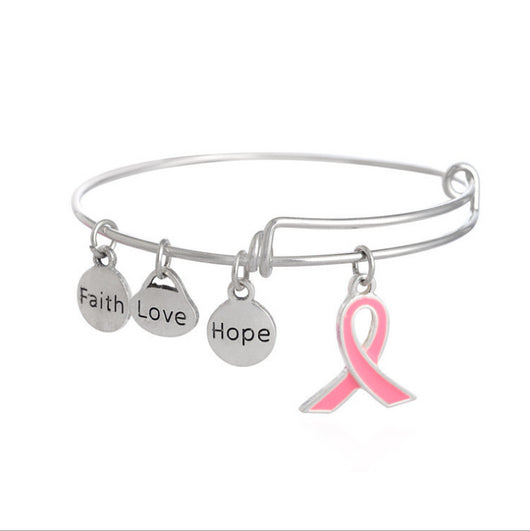 Faith Love Hope Breast Cancer Pink Ribbon Charm Bangle