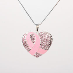 Breast Cancer Awareness Pink Ribbon Rhinestone Heart Pendant Chain Necklace