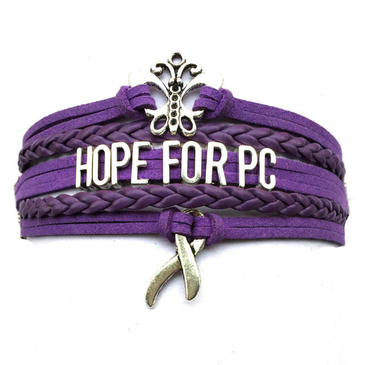 Hope for Pancreatic Cancer Butterfly - Purple Charm Bracelet