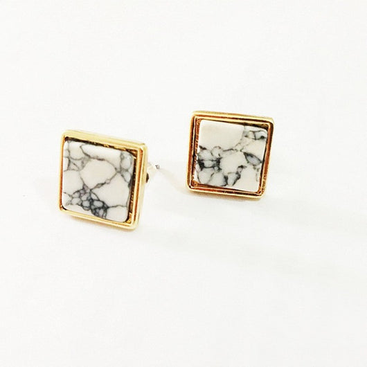 Geometric Marbled White Faux Stone Stud Earrings