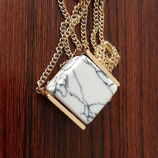 Geometric White Marble Faux Stone Pendant Necklace for Women