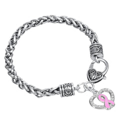 Breast Cancer Awareness Pink Enamel Ribbon Heart Shape Charm Lobster Clasp Bracelet