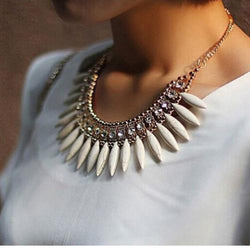 BOHO Chunky Statement Crystal Pendant Chain Choker Necklace