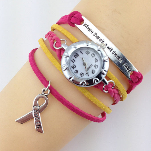 Breast Cancer Awareness Rose Color Multi Woven Ribbon Charm Watch Bracelet