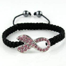 Black Strand, Pink Crystal Ribbon Breast Cancer Awareness Knitted Adjustable Hand-woven Bracelet