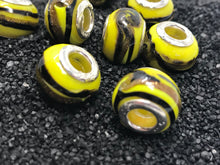 Euro Large Hole Murano Glass Bead Yellow and Black 925 Core
