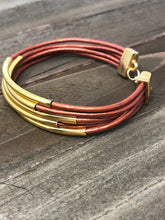 5 Strand Leather Wrap Copper