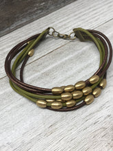 Leather Bangle with Brass Beads