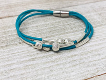Leather Bangle with Silver
