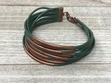 Hunter Green Quarter Stack with Copper and Clasp