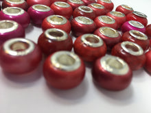 Acrylic 925 Euro Beads, Red, Large Hole Bead